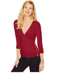 Michael Kors | Red Michael Petite Side-zip Wrap Top | Lyst