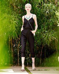 Parker - Black Liv Cross-Front Ruched Silk Jumpsuit - Lyst