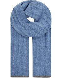 Brunello Cucinelli | Ribbed Cashmere Scarf, Men's, Blue for Men | Lyst