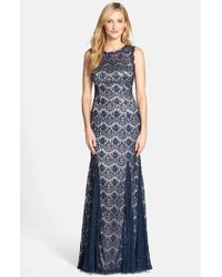 Betsy & Adam Blue Lace Mermaid Gown