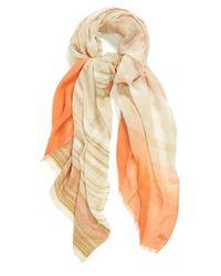 Hinge - Orange Stripe Jacquard Scarf - Coral - Lyst