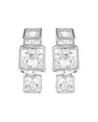 Mikey | Metallic Triple Square Cubic Drop Earring | Lyst