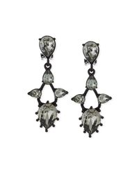 Oscar de la Renta - Black Pear Crystal Drop Clip Earrings - Lyst