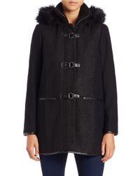 Kensie | Black Faux Fur-trimmed Toggle Coat | Lyst