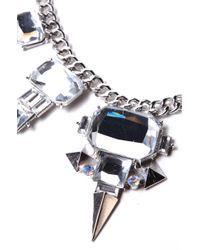 AKIRA Metallic North Star Necklace in Silver Crystal