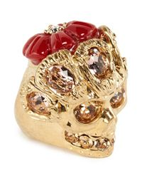 Alexander McQueen Metallic Crystal Skull Flower Ring
