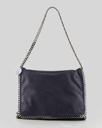 Stella McCartney Blue Falabella Large Flap Shoulder Bag Navy