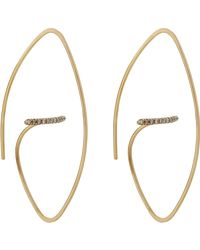 Hirotaka - White Floating-diamond-bar Hoop Earrings - Lyst