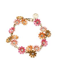 Jones New York | Pink Goldtone Colorful Flower Link Bracelet | Lyst