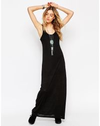 ASOS | Black Maxi Dress With Low Back And Lace Insert | Lyst