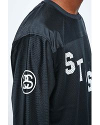Stussy 80 Football Long Sleeve Mesh Jersey In Black for men