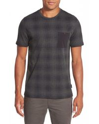 Ted Baker | Blue 'sperhed' Check Print Pocket T-shirt for Men | Lyst