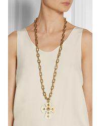 Ashley Pittman - Metallic Pembeni Goldtone and Horn Cross Necklace - Lyst
