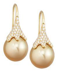 Eli Jewels | Metallic Golden South Sea Pearl And Diamond Drop Earrings | Lyst