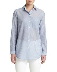 Lafayette 148 New York - Multicolor Babette Sheer Striped Blouse - Lyst