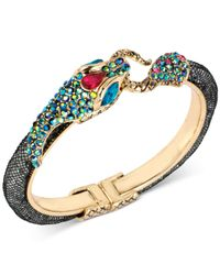 Betsey Johnson - Metallic Two-tone Pavé Snake Mesh Hinged Bangle Bracelet - Lyst