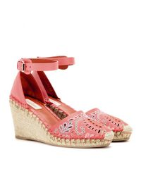 Valentino Pink A Jour Embroidered Leather Espadrille Wedges