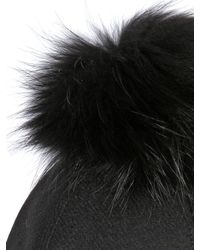 Kreisi Couture Black Aviatore Hat With Fur Pompom