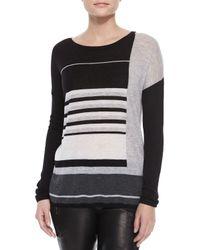 Vince Black Mixed-Stripe Knit Sweater