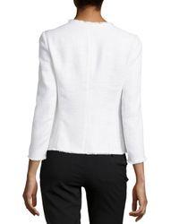 Lafayette 148 New York White Tweed Fringe-Edge Jacket