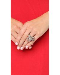Oscar de la Renta - Metallic Floral Baguette Ring - Crystal/silver - Lyst