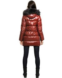 Duvetica Red Kappa Nylon Down Jacket with Fur