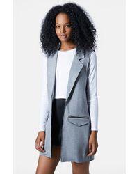TOPSHOP | Gray Sleeveless Ponte Jacket | Lyst