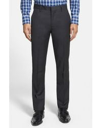 Bonobos Gray 'foundation' Flat Front Solid Wool Trousers for men