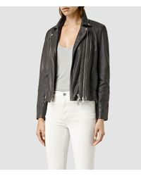 AllSaints - Black Dare Leather Biker Jacket - Lyst