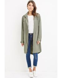 Forever 21 | Green Longline Hooded Utility Jacket | Lyst