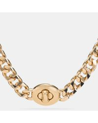 COACH | Metallic Long Turnlock Curbchain Necklace | Lyst