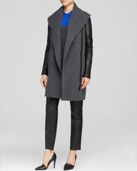 Vince Gray Coat Leather Sleeve