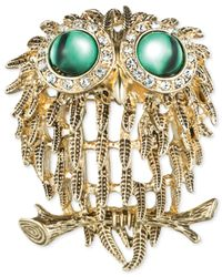 Jones New York | Metallic Gold-Tone Green Cabochon And Crystal Owl Pin | Lyst