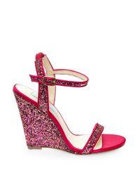Betsey Johnson | Purple Darci Satin And Glitter Wedge Sandals | Lyst