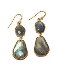 Argento Vivo Metallic Double Geo Stone Drop Earrings
