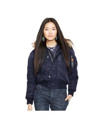 Polo Ralph Lauren | Blue Hooded Down Bomber Jacket | Lyst