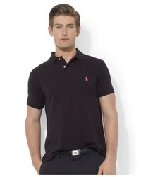 Polo Ralph Lauren | Black Pink Pony Custom-fit Polo for Men | Lyst