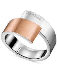 Calvin Klein Gray Two-tone Bypass Ring