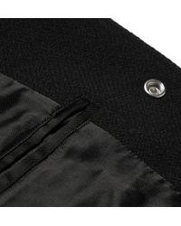 Saint Laurent Black Leather-trimmed Wool-blend Varsity Jacket for men