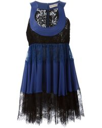 Emilio Pucci | Blue Lace Trim Flared Dress | Lyst