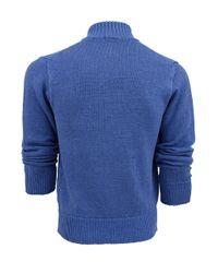 Inis Meáin Blue Men'S Double Zipper Linen Sweater for men