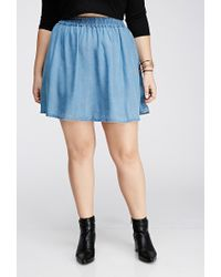 Forever 21 - Blue Chambray Skater Skirt - Lyst