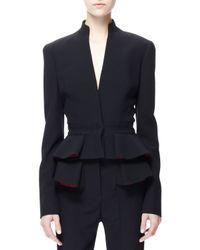 Alexander McQueen Black Pleated Crepe Peplum Jacket