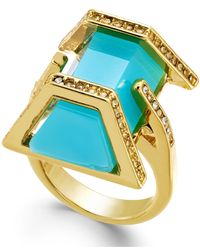 ABS By Allen Schwartz | Blue Gold-tone Aqua Stone Ring | Lyst