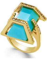 ABS By Allen Schwartz | Blue Gold-tone Aqua Stone Ring | Lyst