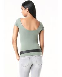 Bebe | Gray Double V-neck Tee | Lyst