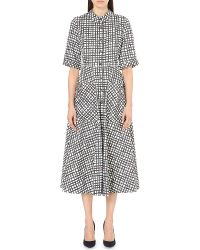 Saloni | Black Natalie Geometric-print Cotton-blend Dress | Lyst