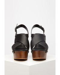 Forever 21 Black Crisscross Wedge Slingback Sandals