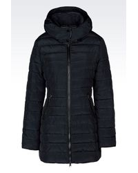 Armani Jeans | Blue Hooded Down Jacket In Technical Fabric | Lyst
