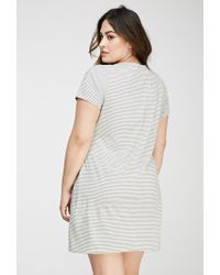 Forever 21 | Gray Striped Tee Shirt Dress | Lyst